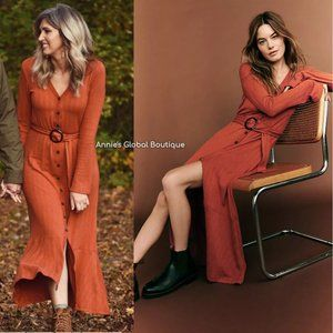NWT ANTHROPOLOGIE Elsa Ribbed Belted Maxi Dress
